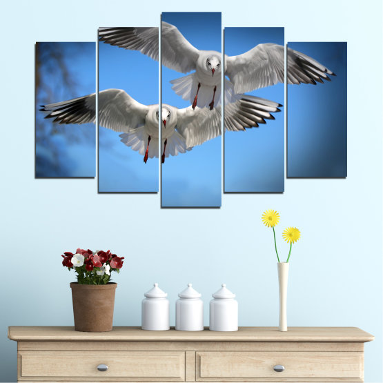 Canvas prints & wall decorative panels - 5 pieces №0610 » Blue, Turquoise, Gray, Dark grey » Sky, Birds, Seagull Form #1