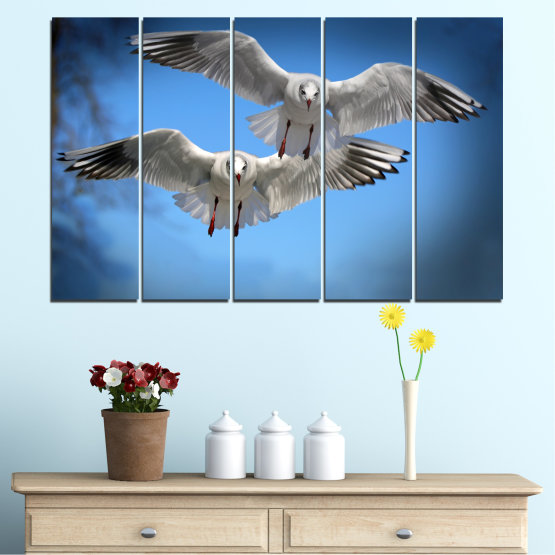 Canvas prints & wall decorative panels - 5 pieces №0610 » Blue, Turquoise, Gray, Dark grey » Sky, Birds, Seagull Form #2