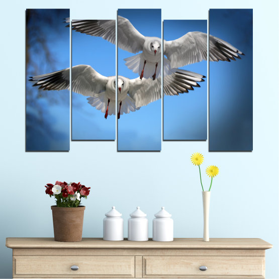 Canvas prints & wall decorative panels - 5 pieces №0610 » Blue, Turquoise, Gray, Dark grey » Sky, Birds, Seagull Form #3