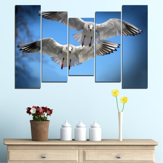 Canvas prints & wall decorative panels - 5 pieces №0610 » Blue, Turquoise, Gray, Dark grey » Sky, Birds, Seagull Form #4