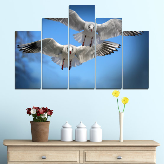 Canvas prints & wall decorative panels - 5 pieces №0610 » Blue, Turquoise, Gray, Dark grey » Sky, Birds, Seagull Form #5