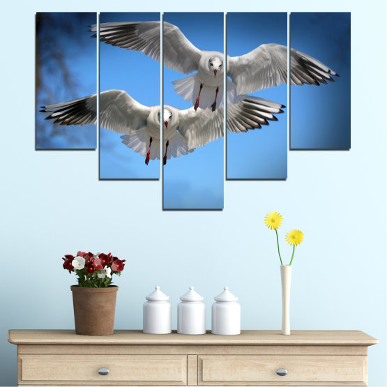 Canvas prints & wall decorative panels - 5 pieces №0610 » Blue, Turquoise, Gray, Dark grey » Sky, Birds, Seagull Form #6