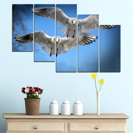 Canvas prints & wall decorative panels - 5 pieces №0610 » Blue, Turquoise, Gray, Dark grey » Sky, Birds, Seagull Form #7