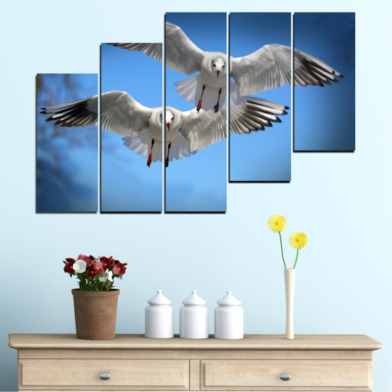Canvas prints & wall decorative panels - 5 pieces №0610 » Blue, Turquoise, Gray, Dark grey » Sky, Birds, Seagull Form #8