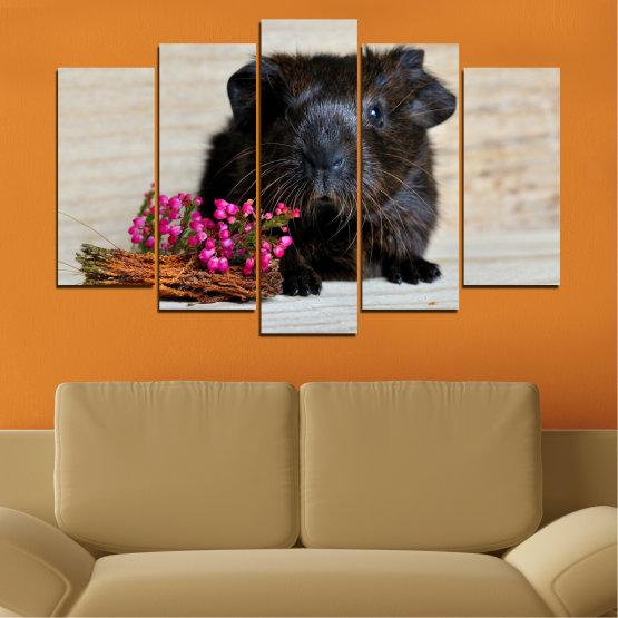 Декоративни панели и картини от канава - от 5 части №0611 » Черен, Сив, Бежов, Тъмно сив » Животни, Портрет, Хамстер Form #1