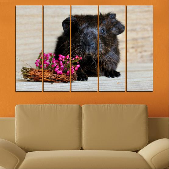 Декоративни панели и картини от канава - от 5 части №0611 » Черен, Сив, Бежов, Тъмно сив » Животни, Портрет, Хамстер Form #2