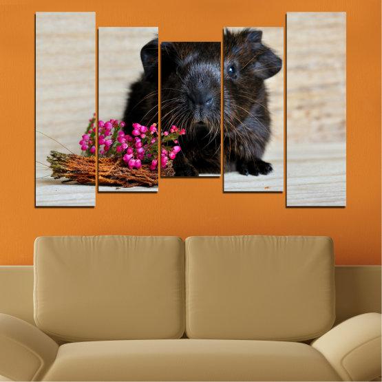 Декоративни панели и картини от канава - от 5 части №0611 » Черен, Сив, Бежов, Тъмно сив » Животни, Портрет, Хамстер Form #4