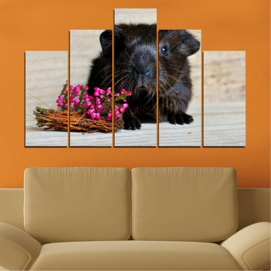 Декоративни панели и картини от канава - от 5 части №0611 » Черен, Сив, Бежов, Тъмно сив » Животни, Портрет, Хамстер Form #5