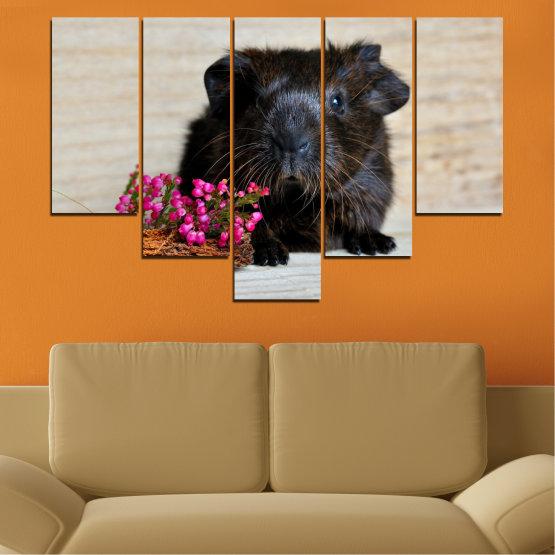 Декоративни панели и картини от канава - от 5 части №0611 » Черен, Сив, Бежов, Тъмно сив » Животни, Портрет, Хамстер Form #6