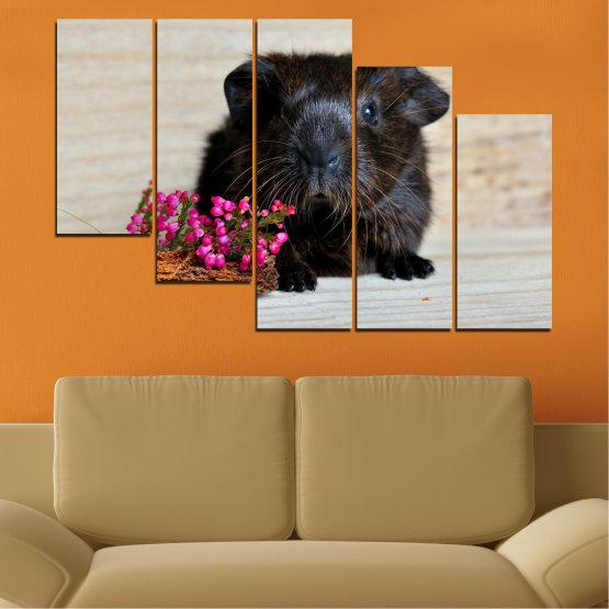 Декоративни панели и картини от канава - от 5 части №0611 » Черен, Сив, Бежов, Тъмно сив » Животни, Портрет, Хамстер Form #7