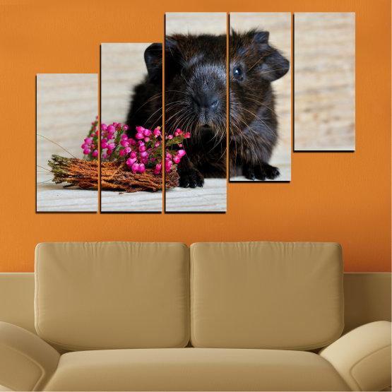 Декоративни панели и картини от канава - от 5 части №0611 » Черен, Сив, Бежов, Тъмно сив » Животни, Портрет, Хамстер Form #8