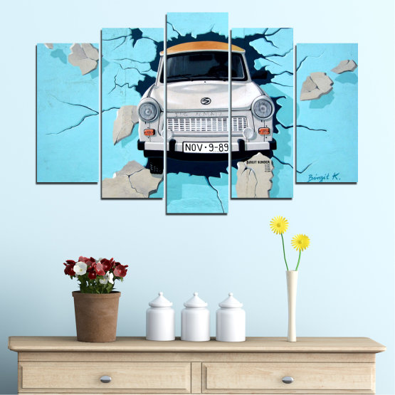 Canvas prints & wall decorative panels - 5 pieces №0612 » Turquoise, Black, Gray, Dark grey » Collage, Car, Vehicle Form #1