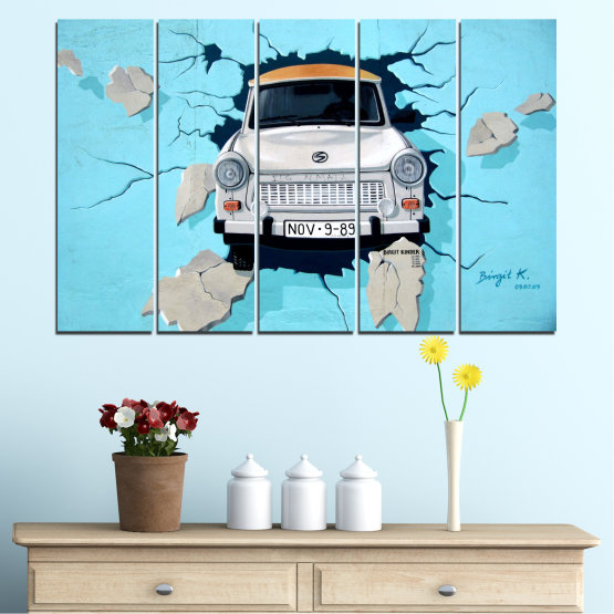 Canvas prints & wall decorative panels - 5 pieces №0612 » Turquoise, Black, Gray, Dark grey » Collage, Car, Vehicle Form #2