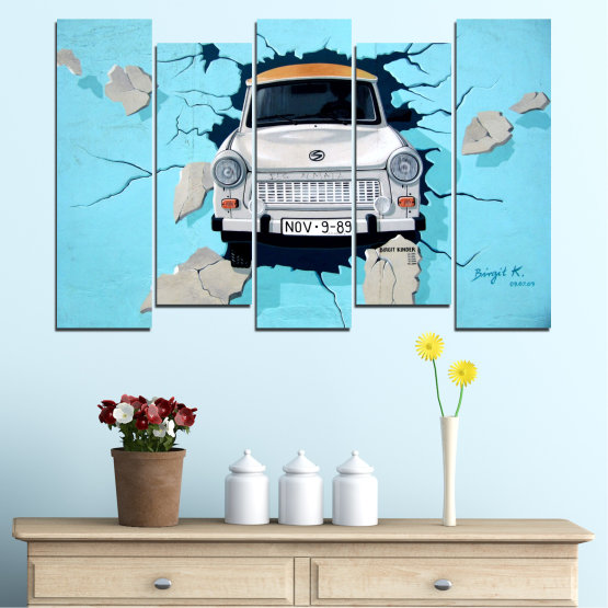 Canvas prints & wall decorative panels - 5 pieces №0612 » Turquoise, Black, Gray, Dark grey » Collage, Car, Vehicle Form #3