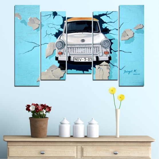 Canvas prints & wall decorative panels - 5 pieces №0612 » Turquoise, Black, Gray, Dark grey » Collage, Car, Vehicle Form #4