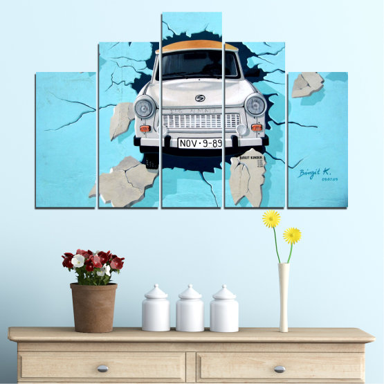 Canvas prints & wall decorative panels - 5 pieces №0612 » Turquoise, Black, Gray, Dark grey » Collage, Car, Vehicle Form #5