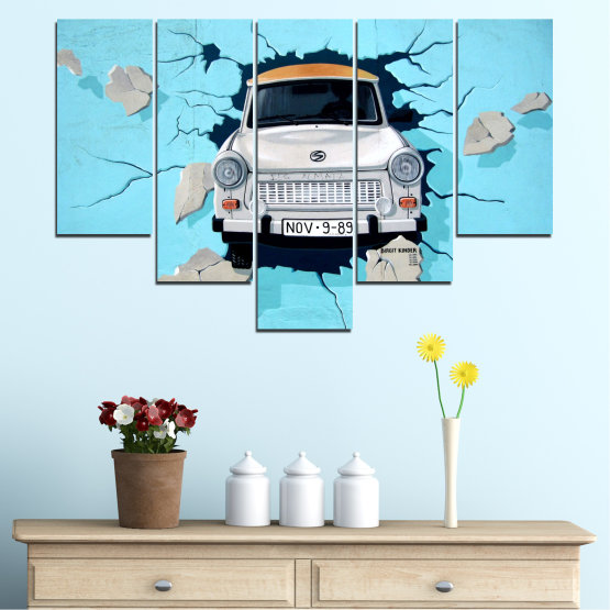 Canvas prints & wall decorative panels - 5 pieces №0612 » Turquoise, Black, Gray, Dark grey » Collage, Car, Vehicle Form #6