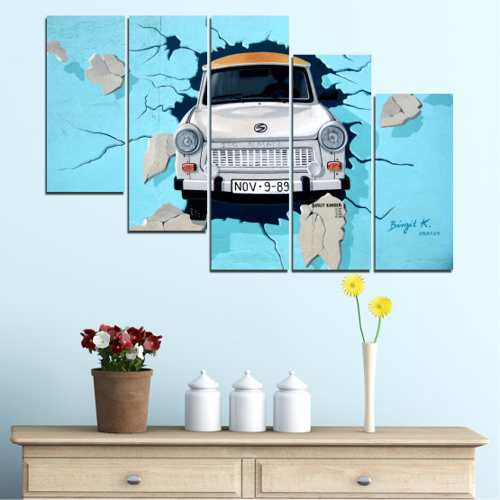 Canvas prints & wall decorative panels - 5 pieces №0612 » Turquoise, Black, Gray, Dark grey » Collage, Car, Vehicle Form #7