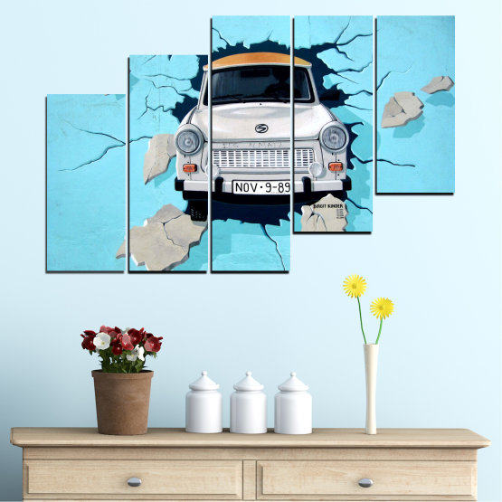 Canvas prints & wall decorative panels - 5 pieces №0612 » Turquoise, Black, Gray, Dark grey » Collage, Car, Vehicle Form #8