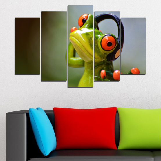 Canvas prints & wall decorative panels - 5 pieces №0614 » Green, Brown, Black, Gray » Animal, Collage, Frog Form #1
