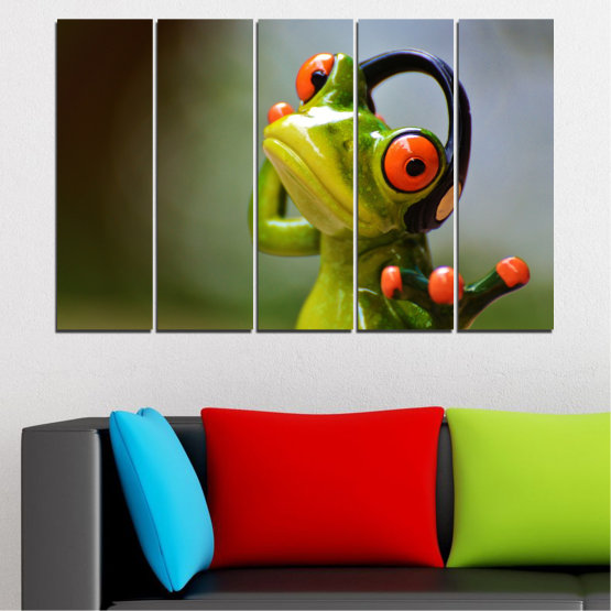 Canvas prints & wall decorative panels - 5 pieces №0614 » Green, Brown, Black, Gray » Animal, Collage, Frog Form #2