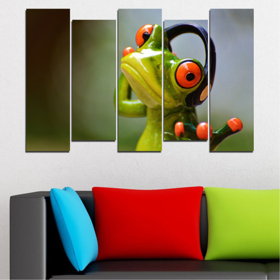 Canvas prints & wall decorative panels - 5 pieces №0614 » Green, Brown, Black, Gray » Animal, Collage, Frog Form #3