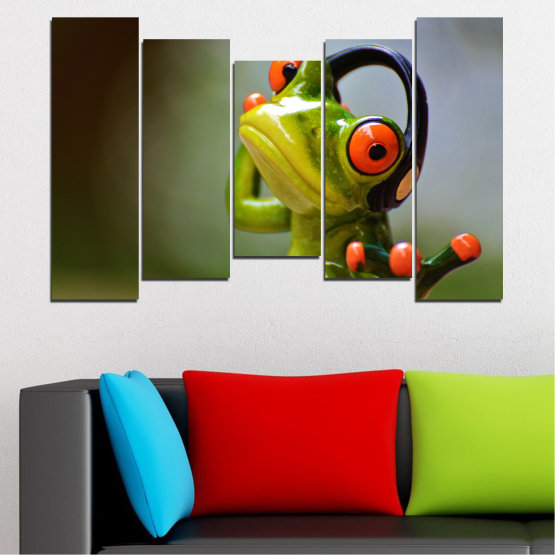 Canvas prints & wall decorative panels - 5 pieces №0614 » Green, Brown, Black, Gray » Animal, Collage, Frog Form #4