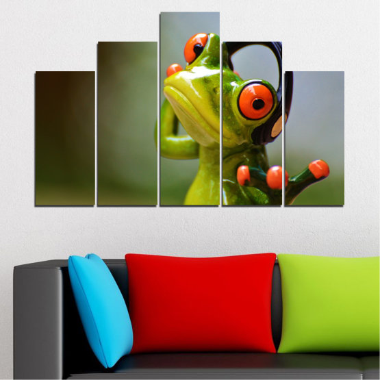 Canvas prints & wall decorative panels - 5 pieces №0614 » Green, Brown, Black, Gray » Animal, Collage, Frog Form #5