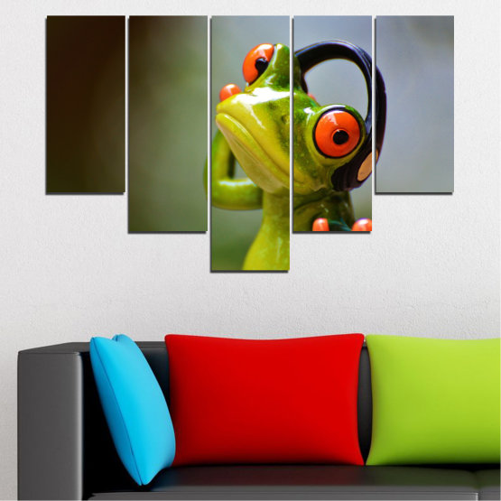 Canvas prints & wall decorative panels - 5 pieces №0614 » Green, Brown, Black, Gray » Animal, Collage, Frog Form #6