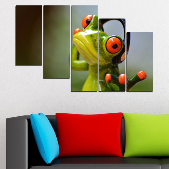 Canvas prints & wall decorative panels - 5 pieces №0614 » Green, Brown, Black, Gray » Animal, Collage, Frog Form #7