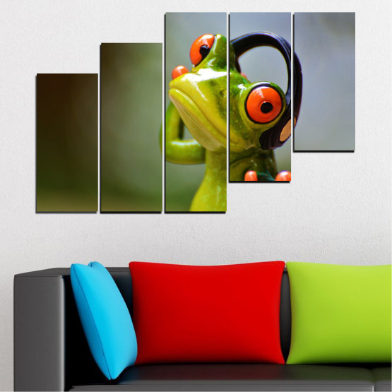 Canvas prints & wall decorative panels - 5 pieces №0614 » Green, Brown, Black, Gray » Animal, Collage, Frog Form #8