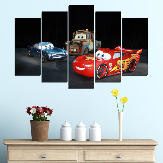 Canvas prints & wall decorative panels - 5 pieces №0616 » Red, Black, White, Dark grey » Children, Animated, Car, Mcqueen Form #1