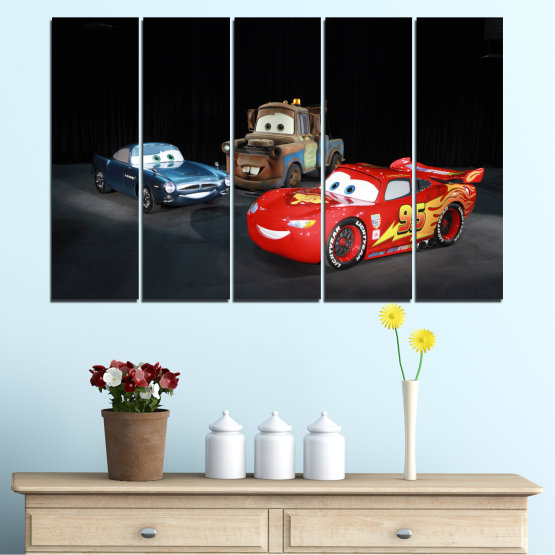 Canvas prints & wall decorative panels - 5 pieces №0616 » Red, Black, White, Dark grey » Children, Animated, Car, Mcqueen Form #2