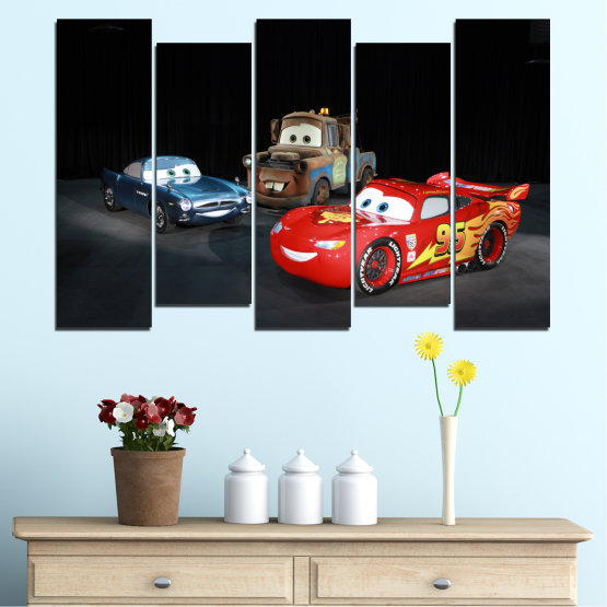 Canvas prints & wall decorative panels - 5 pieces №0616 » Red, Black, White, Dark grey » Children, Animated, Car, Mcqueen Form #3