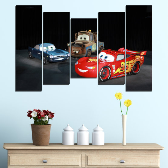 Canvas prints & wall decorative panels - 5 pieces №0616 » Red, Black, White, Dark grey » Children, Animated, Car, Mcqueen Form #4