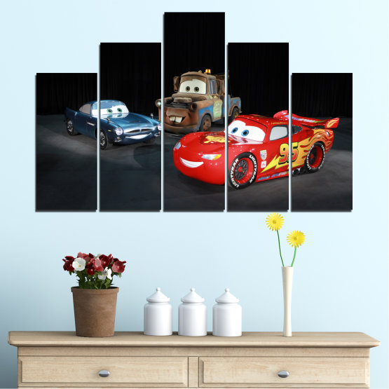 Canvas prints & wall decorative panels - 5 pieces №0616 » Red, Black, White, Dark grey » Children, Animated, Car, Mcqueen Form #5