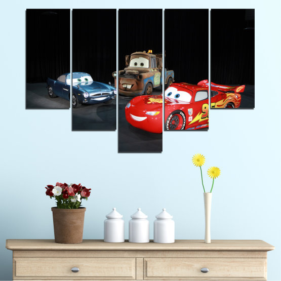 Canvas prints & wall decorative panels - 5 pieces №0616 » Red, Black, White, Dark grey » Children, Animated, Car, Mcqueen Form #6