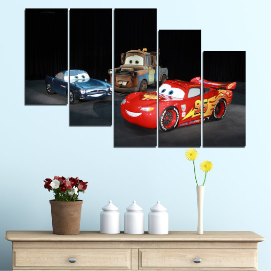 Canvas prints & wall decorative panels - 5 pieces №0616 » Red, Black, White, Dark grey » Children, Animated, Car, Mcqueen Form #7