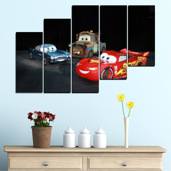 Canvas prints & wall decorative panels - 5 pieces №0616 » Red, Black, White, Dark grey » Children, Animated, Car, Mcqueen Form #8