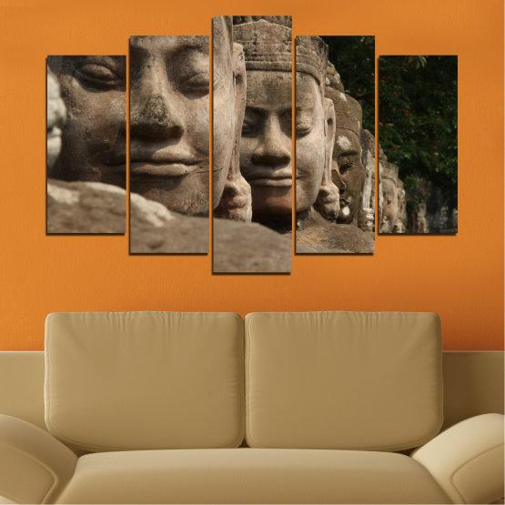 Декоративни панели и картини от канава - от 5 части №0617 » Кафяв, Черен, Сив, Тъмно сив » Фън шуй, Буда, Статуя Form #1