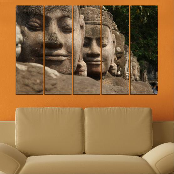 Декоративни панели и картини от канава - от 5 части №0617 » Кафяв, Черен, Сив, Тъмно сив » Фън шуй, Буда, Статуя Form #2