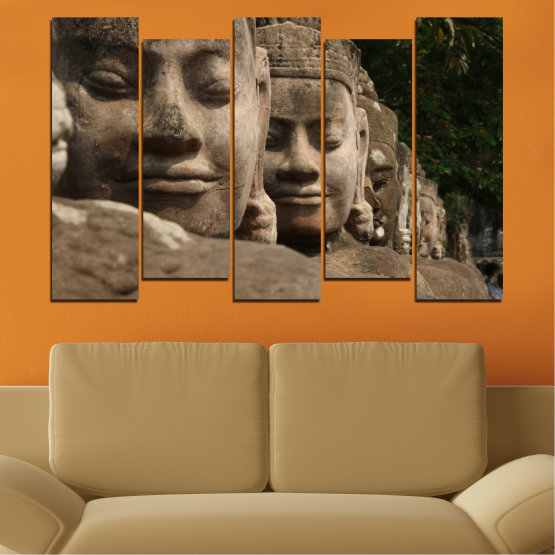Декоративни панели и картини от канава - от 5 части №0617 » Кафяв, Черен, Сив, Тъмно сив » Фън шуй, Буда, Статуя Form #3