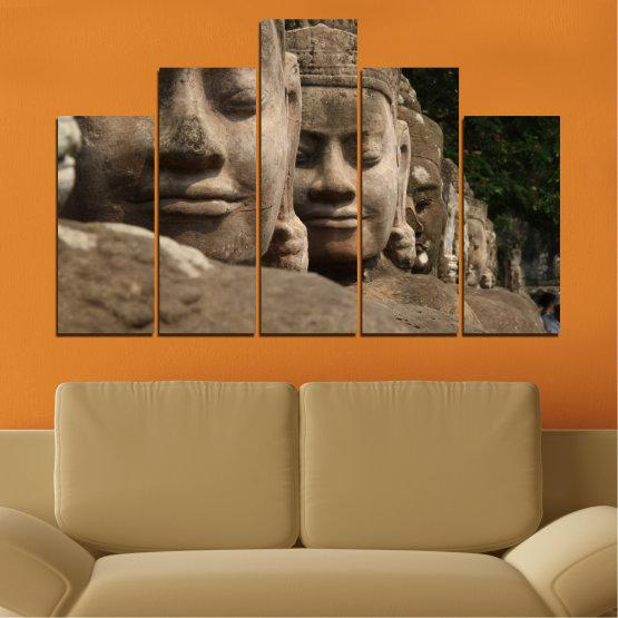 Декоративни панели и картини от канава - от 5 части №0617 » Кафяв, Черен, Сив, Тъмно сив » Фън шуй, Буда, Статуя Form #5