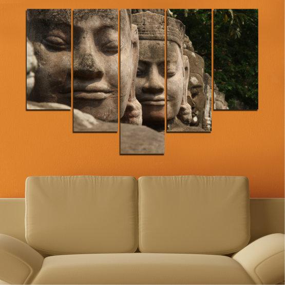 Декоративни панели и картини от канава - от 5 части №0617 » Кафяв, Черен, Сив, Тъмно сив » Фън шуй, Буда, Статуя Form #6