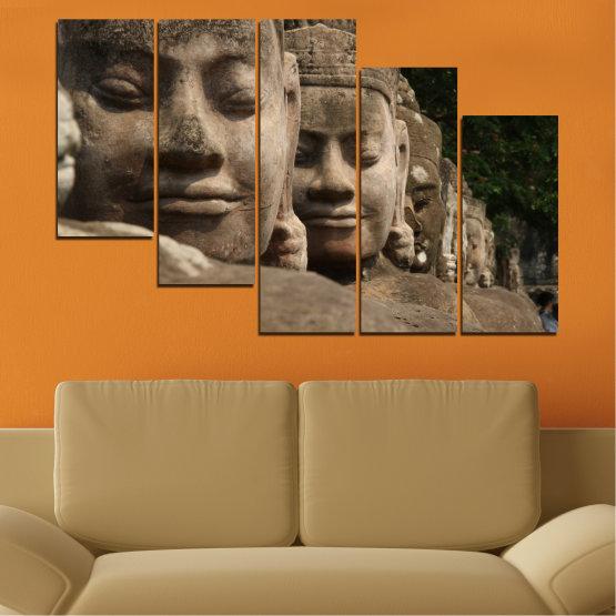 Декоративни панели и картини от канава - от 5 части №0617 » Кафяв, Черен, Сив, Тъмно сив » Фън шуй, Буда, Статуя Form #7