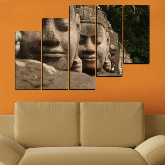 Декоративни панели и картини от канава - от 5 части №0617 » Кафяв, Черен, Сив, Тъмно сив » Фън шуй, Буда, Статуя Form #8