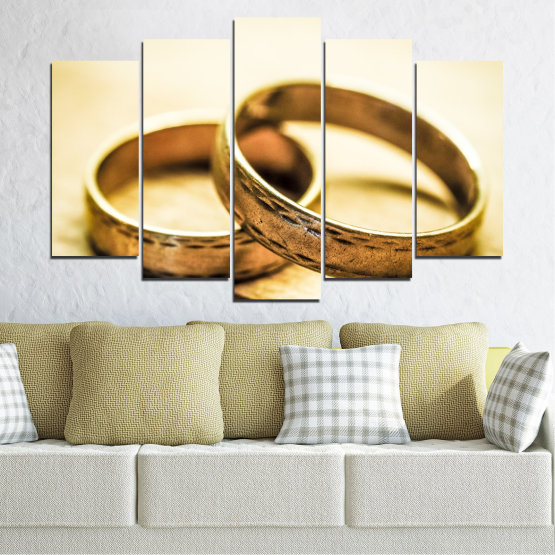 Canvas prints & wall decorative panels - 5 pieces №0618 » Orange, Brown, White, Beige » Wedding, Symbol, Ring Form #1