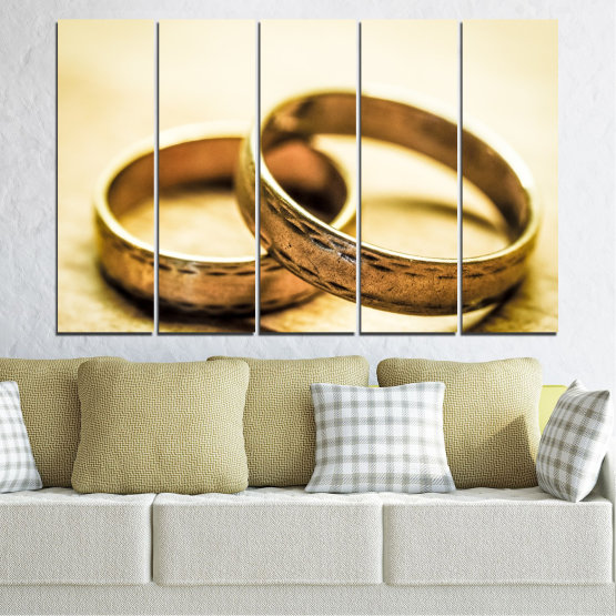 Canvas prints & wall decorative panels - 5 pieces №0618 » Orange, Brown, White, Beige » Wedding, Symbol, Ring Form #2