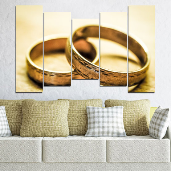 Canvas prints & wall decorative panels - 5 pieces №0618 » Orange, Brown, White, Beige » Wedding, Symbol, Ring Form #4