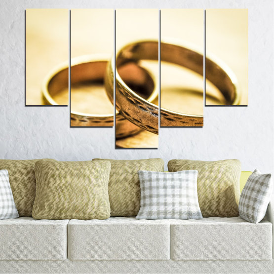 Canvas prints & wall decorative panels - 5 pieces №0618 » Orange, Brown, White, Beige » Wedding, Symbol, Ring Form #6